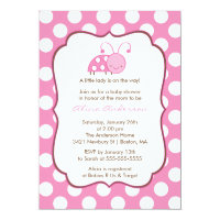 Sweet Pink Ladybugs Baby Shower Invitation