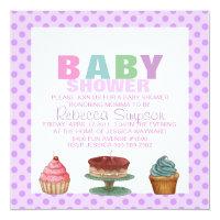 Sweet Purple Polka Dot Baby Shower Invitation