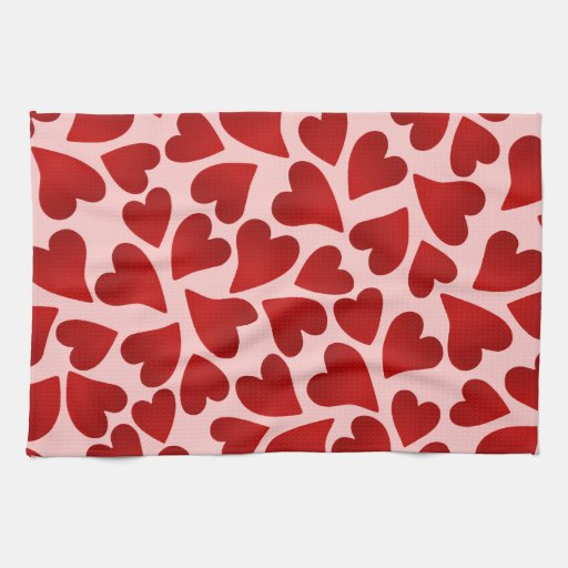 Sweet Red Hearts On Pink Valentines Day Decor Towel Zazzle