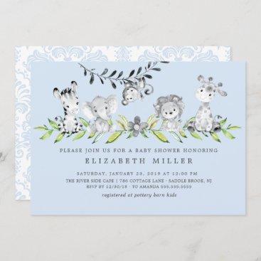 Sweet Safari Animals Boy Baby Shower Invitation