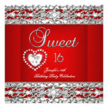 Sweet Sixteen 16 Party Red Silver Diamond Custom Announcements