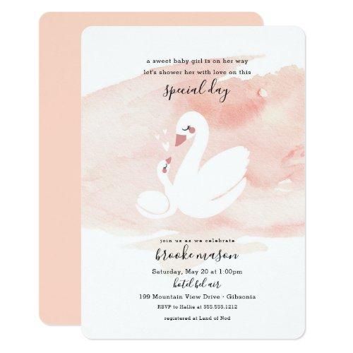 Sweet Swan Baby Shower Invitation