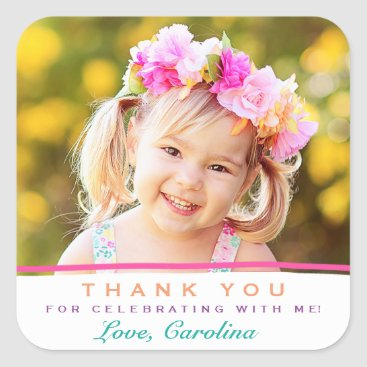 Sweet Thank You Photo Birthday Stickers