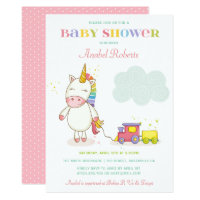 Sweet Unicorn Baby Shower Invitation