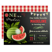 Sweet Watermelon First Birthday Party Invitation