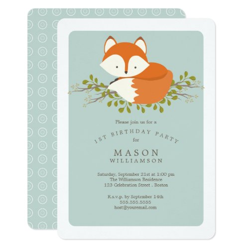 Sweet Woodland Baby Fox Birthday Party Celebration Invitation