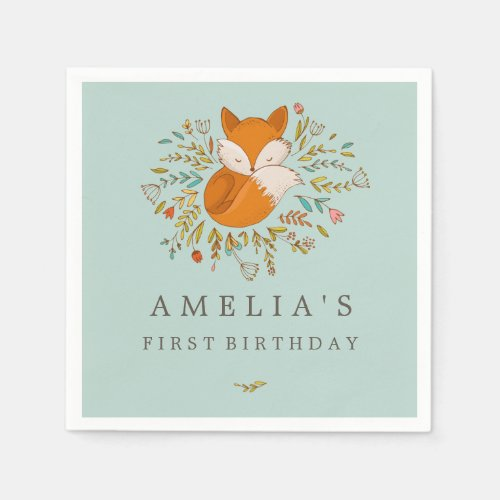 Sweet Woodland Fox 1st Birthday Napkin