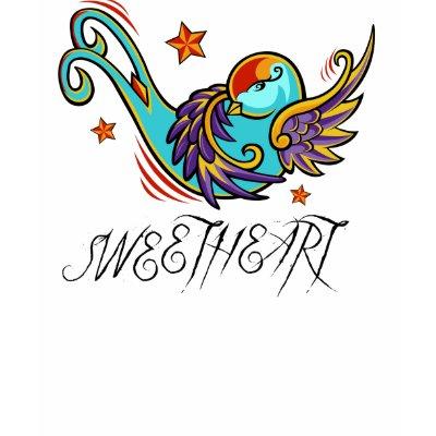 Sweetheart Swallow Tattoo Bird Tee Shirts by jfarrell12