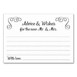 Swirls Advice And Wishes Wedding Cards