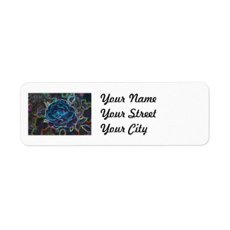 Swirly Blue Neon Rose Custom Return Address Label