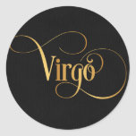 Swirly Script Zodiac Sign Virgo Gold on Black Classic Round Sticker