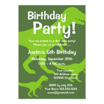 T-Rex dinosaur birthday party invitations for kids