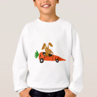 TA- Funny Bunny Rabbit Driving Carrot Car Cartoon Sweatshirt