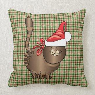 tabby cat santa pillow