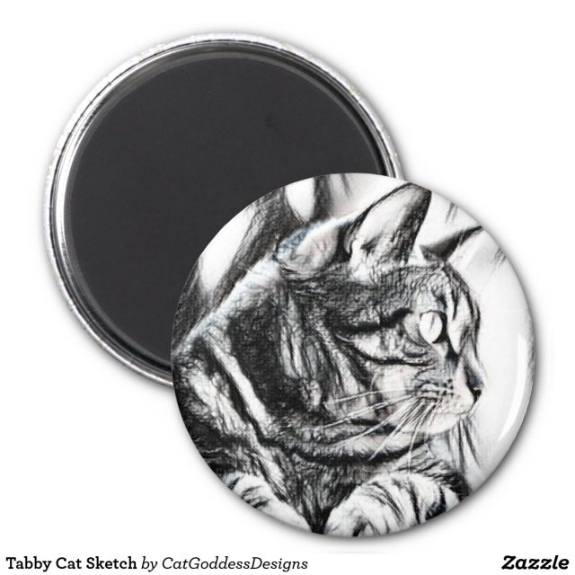 Tabby Cat Sketch Magnet