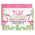 ❤️ Taco 'bout A Fiesta Flamingos Birthday Invitation