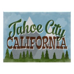 Tahoe City California Fun Retro Snowy Mountains Poster
