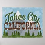 Tahoe City California Fun Retro Snowy Mountains Poster