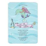 Tan Skin Purple Mermaid with Dolphin Birthday Invitation