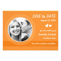 Tangerine orange photo save the date announcement
