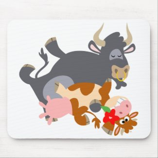 Tango!! (cartoon bull and cow) mousepad mousepad