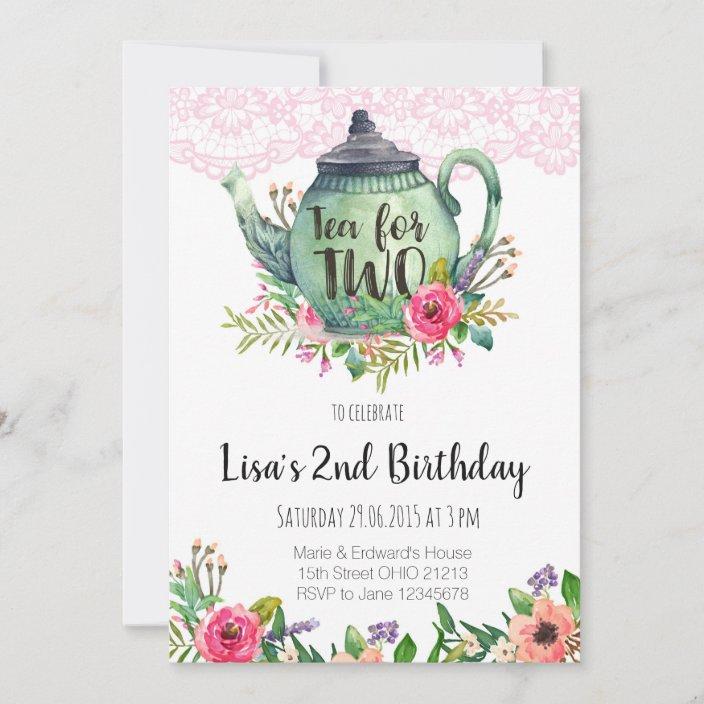 tea for two birthday party invitation zazzle com