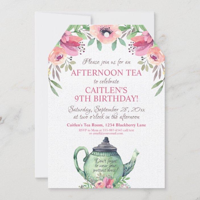 tea party floral tea pot birthday invitation zazzle com
