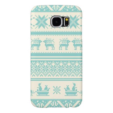 Teal and Beige Ugly Christmas Sweater patterns Samsung Galaxy S6 Case