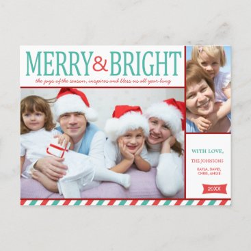 Teal Blue and Red Merry and Bright Photo Holiday Postcard