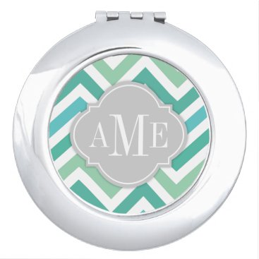 Teal Blue & Aqua Marine Chevron with Monogram Vanity Mirror