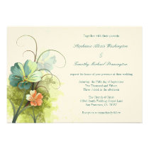 Teal blue green + peach floral wedding invitation