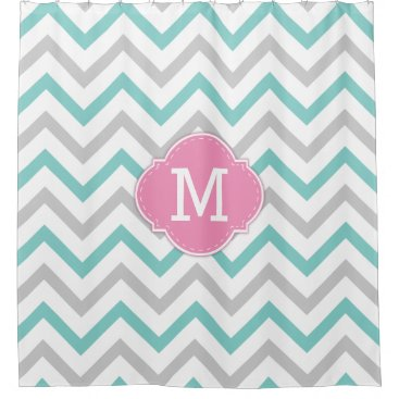 Teal Blue, Grey and White Chevron with Monogram Shower Curtain