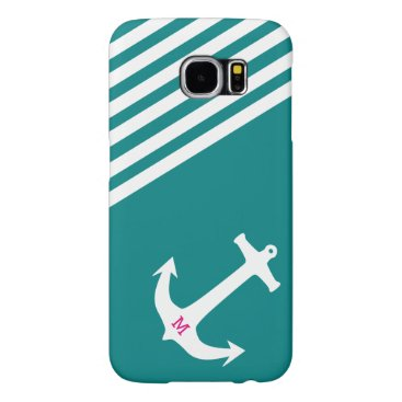 Teal Blue Nautical Anchor with Monogram Samsung Galaxy S6 Case