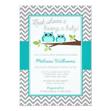 Teal Blue Owl Gray Chevron Boy Baby Shower Invitation