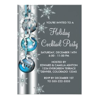 Teal Blue Snowflakes Ornaments Christmas Party Invitations