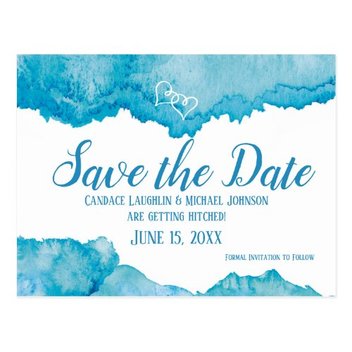 Teal Blue Watercolor Wedding Save the Date Postcard