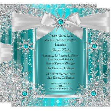 Teal Blue Winter Wonderland Snowflake Silver Bow Invitation