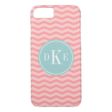 Teal coral chevron 3 letter monogram iPhone 7 case