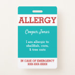 Teal Custom Kids Food Allergy Alert Personalized Badge