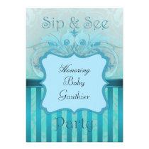 Teal Damask Sip See Baby Shower invitation