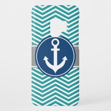 Teal Nautical Anchor Chevron Case-Mate Samsung Galaxy S9 Case