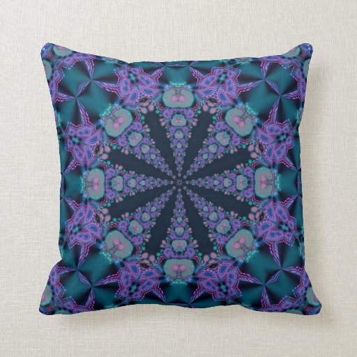 Teal Purple Geo-Fractal Art Psychedelic Cushion