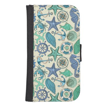 Teal Sea Animals Pattern Galaxy S4 Wallet Case