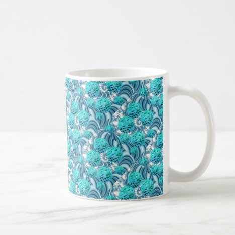 Teal Sea Forest, Abstract Underwater Ocean Coffee Mug