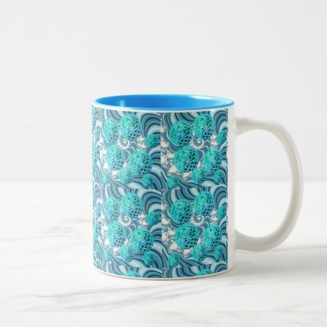 Teal Sea Forest, Abstract Underwater Ocean Two-Tone Coffee Mug