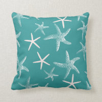 Teal Starfish Pattern Throw Pillow