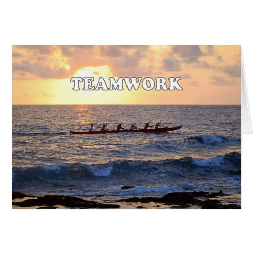 Teamwork, Hawaiian Outrigger Canoe at Sunset Card