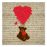 Teddy bear and heart poster
