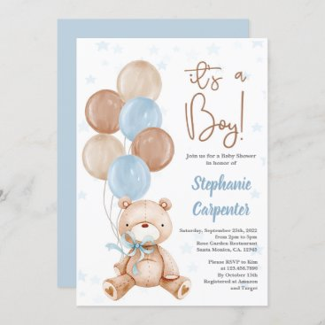 Teddy Bear Baby shower boy Invitation