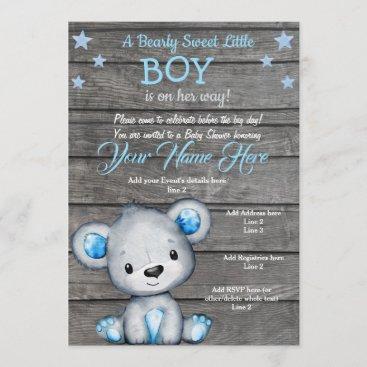 Teddy Bear Baby Shower Invitation, rustic blue boy Invitation